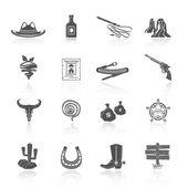 Cowboy Icons Black — ストックベクタ