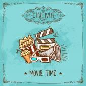 Cinema poster sketch — Stock Vector