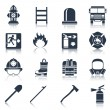 Firefighter Icons Black — Stock Vector #59266583