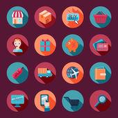 Shopping E-commerce Icons Set Flat — Stock Vector