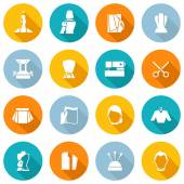 Clothes Designer Icons Flat — Stock Vector