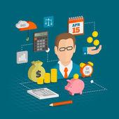 Tax icons isometric — Stock Vector