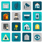 Home Security Icons Flat — Stock Vector