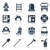 Firefighter Icons Black — Stock Vector