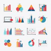 Business Chart Icons Set Flat — Stockvector