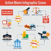 Action movie infographics — Vetorial Stock