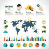 Contact us infographics set — ストックベクタ
