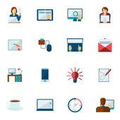 Freelance Icon Flat Set — Stock Vector