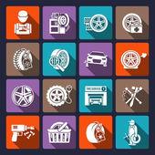 Tire service icon white — Stock Vector