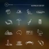 Australia icons set outline — Stock Vector