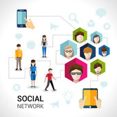 Conceito de rede social — Vetor de Stock