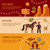 Cowboy banners flat — Stock Vector
