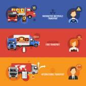 Truck Banners Set — Stock Vector