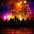 Fireworks City Background — Stock Vector #59960501