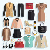 Businesswoman Clothes Icons — Vetor de Stock
