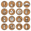 Coffee icons brown line set — Stock Vector #60301075