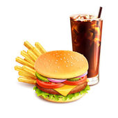 Hamburger French Fries And Cola — Stock Vector