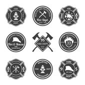 Fire department emblems black — Vector de stock