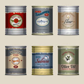 Food cans set — Stock Vector
