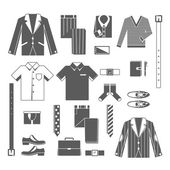 Business Man Clothes Icons Set — Vetor de Stock