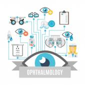 Ophthalmology concept flat — Stock Vector