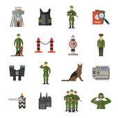 Border Guard Icons Flat — Stock Vector