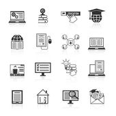 Online Education Icons Black — Vettoriale Stock