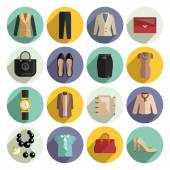 Business Woman Clothes Icons Set — Stock Vector