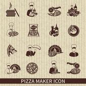 Pizza Maker Icon Black — Stock Vector