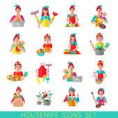 Housewife Icon Set — Stock Vector