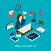 Freelance Workplace Isometric — Stock Vector