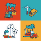 Industrial sketch banner design — Stock Vector