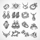 Jewelry Icons Set — Stock Vector