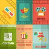 Cinema icons composition poster print — Stock Vector