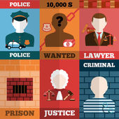 Crime And Punishment Poster Set — Stock Vector