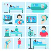 Life support medical equipment icons — Stock Vector