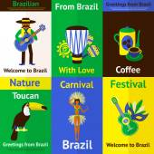 Brazil Mini Poster Set — Stock Vector