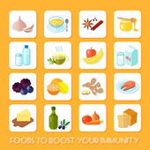 Healthy Food Icons Flat — Stock Vector