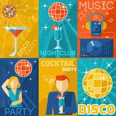 Night Club Poster Set — Stock Vector