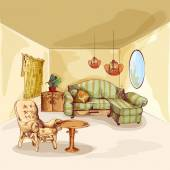 Living Room Interior Sketch — Vettoriale Stock