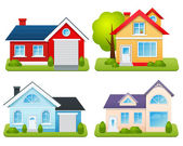 Private Houses Set — Stock Vector