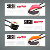 Sushi Banners Horizontal — Stock Vector