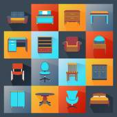 Furniture Icons Flat — Stock Vector