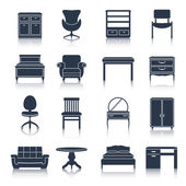Furniture Icons Black — Stock Vector