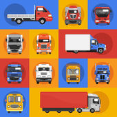 Truck Icons Flat — Vettoriale Stock