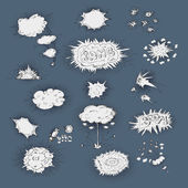 Explosions icons dodle set — Stock Vector