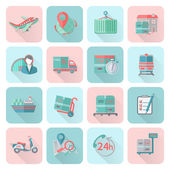 Logistic icons set flat — Stock Vector