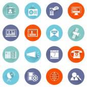 Media icons flat set — Stock Vector