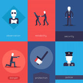 Security guard mini poster set — Stock Vector