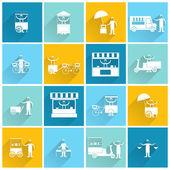 Street food icon flat white — Stock Vector
